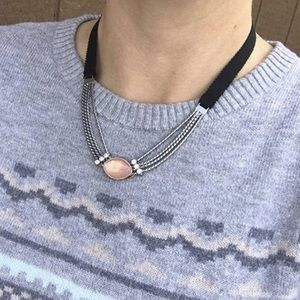 KEEP Collective Black ribbon & chain necklace